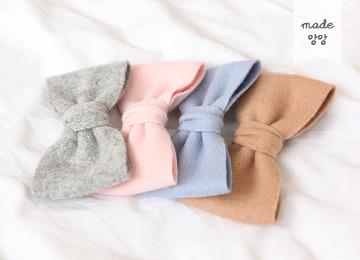 히트다잉 모직 리본핀 (핑크,그레이,캬라멜,블루)